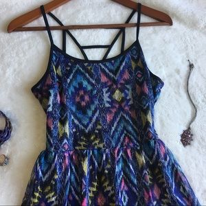 Dresses & Skirts - Blue Southwestern Aztec Boho Print Cage Back Dress